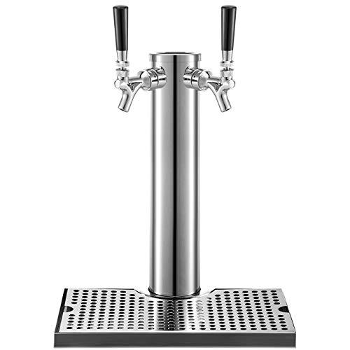 VEVOR Torre de Cerveza con Doble Grifo, 360 x 76 mm Torre de Barril de Cerveza con Bandeja de Goteo, Acero Inoxidable Torre para Dispensar Cerveza para Bares, Hoteles, Restaurantes, Cerveza Casera