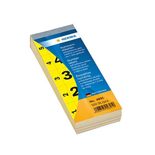 HERMA 4891 Nummernetiketten Zahlen 1 - 500, doppelt (56 x 28 mm, Papier, matt) selbstklebend, permanent haftend, fortlaufender Nummernblock, 500 Etiketten, gelb