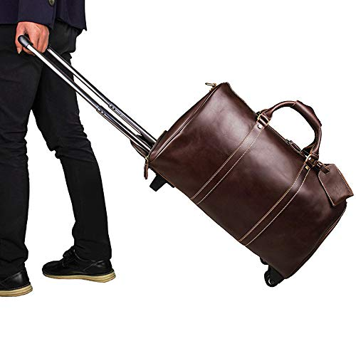 Luggage Wheeled Travel Duffel Bag, Leather Trolley Bag, Waterproof Duffle Bags for Men, Large-Capacity Travel Garment Bags, Best Weekend Bag