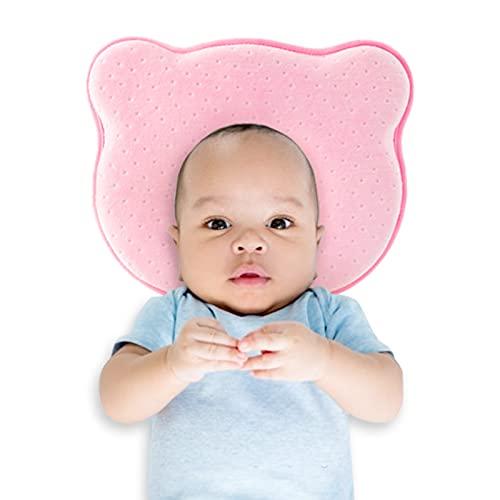 Almohada bebé Cojín para bebés para bebé recién Nacido Cojín de cojín Que Forma el cojín del bebé contra el Amortiguador del bebé Plagiozezfalía Almacén Almohada para El Cojín De Bebé Niños, Rose