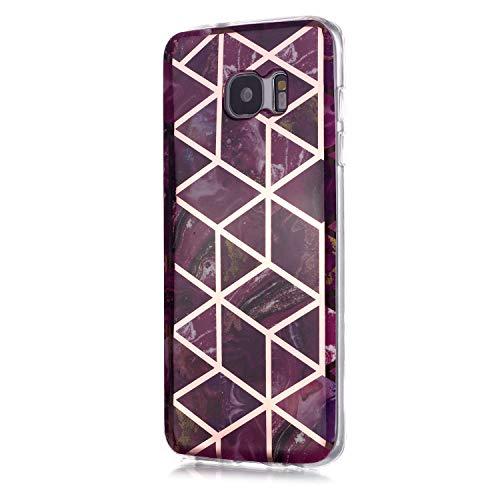 Fatcatparadise Funda para Galaxy S7 [con Protector Pantalla], Carcasa Silicona Mármol Protector TPU Suave Anti-Choque Ultra-Delgado Funda para Samsung Galaxy S7(Púrpura)