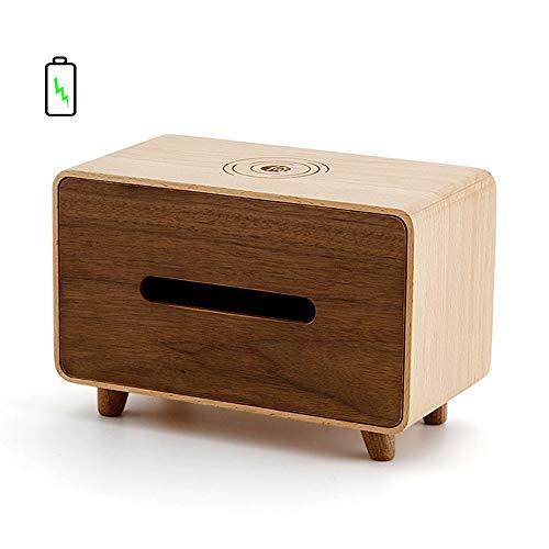 GOYOO MultifunktionBuche Kosmetiktücherboxen mit induktives Laden,Kreativ Desktop Aufbewahrungsbox für zu Hause Küche Bad Schlafzimmer