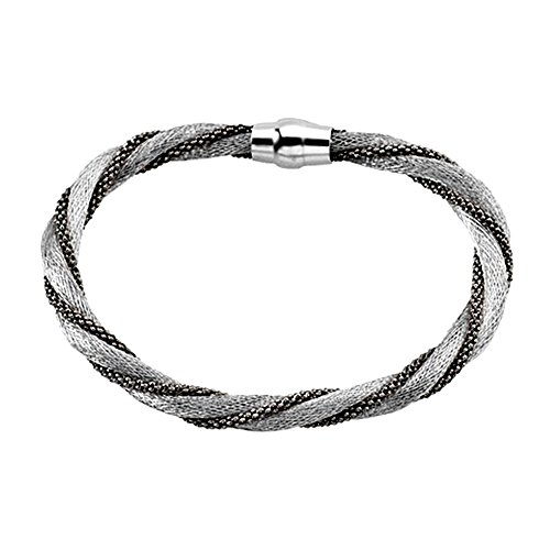 Pulsera plata Ley 925m. rodiada torcida calza rodio negro [AA4546]