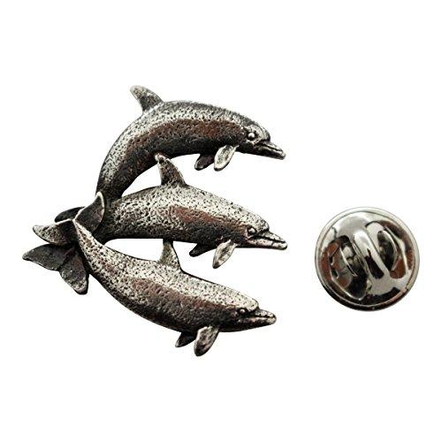 Three Dolphins Pin ~ Antiqued Pewter ~ Lapel Pin ~ Sarah's Treats & Treasures