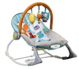 INFANTSO Baby Rocker & Bouncer (Blue) Foldable, Portable with Calming Vibrations & Musical