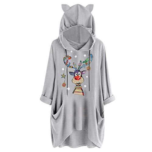 Sudadera con capucha para mujer con estampado de gato, manga larga, cálida, de gran tamaño, para invierno y otoño, tallas grandes gris M