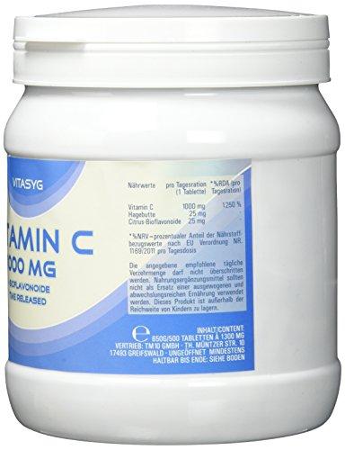 Vitasyg Vitamin C 1000 mg plus Bioflavonoide, für Immunsystem, Haut, Zähne und Knorpel – 500 Tabletten, 1er Pack (1 x 650 g) - 3