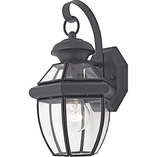 "Quoizel NY8315K Newbury Outdoor Wall Lantern Wall Mount Lighting, 1-Light, 150 Watt, Mystic Black (12""H x 7""W)"
