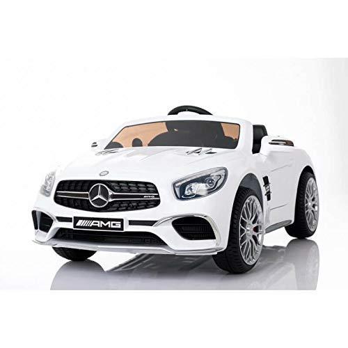 Mercedes SL65 con Mando y batería 12v - Asiento de Piel y Ruedas de Goma - Coche eléctrico para niños Blanco