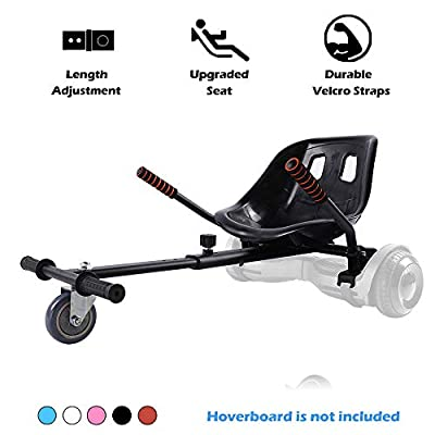 Go Kart Hoverboard Seat Attachment Accessories Hover Board Cart for Adults Kids Self Balancing Scooter Compatible with 6.5'' 8'' 10'' Adjustable Seat Frame, Black from
