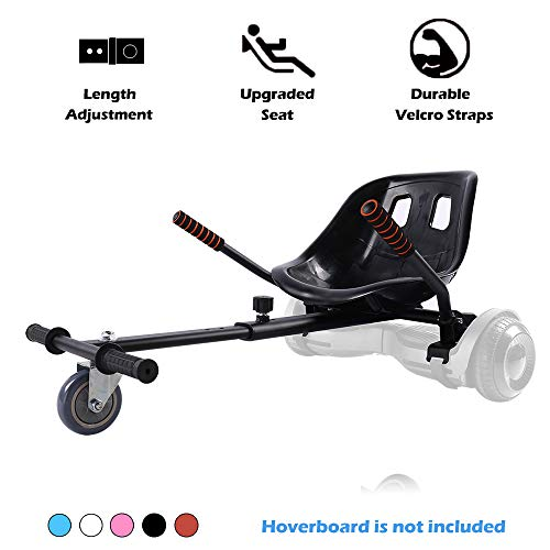 Go Kart Hoverboard Seat Attachment Accessories Hover Board Cart for Adults Kids Self Balancing Scooter Compatible with 6.5'' 8'' 10'' Adjustable Seat Frame, Black