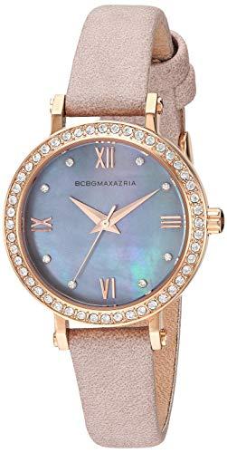 BCBGMAXAZRIA Women's Stainless Steel Japanese-Quartz Watch with Leather Strap, Pink, 11.3 (Model: BG50674002)