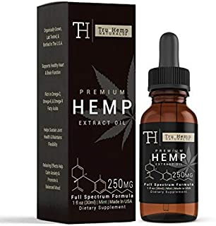 Tru Hemp Naturals: Organic Hemp Mint Flavored Vitamin Oil with Omega 3, 6, and 9 Fatty Acids for Pain and Anxiety Relief, Aids in Relaxation and Calming, Non-GMO (250 mg, 8.3mg/ Serving)