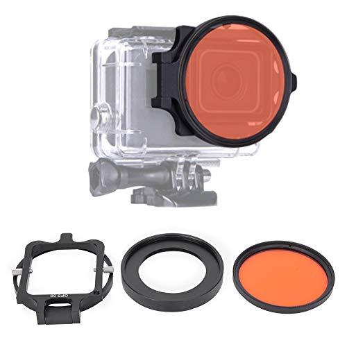 Mavis Laven Cámara Filtro Rojo Vidrio óptico Profesional Buceo Submarino Filtro Rojo de 58 mm con Lente Macro 16X para cámara de acción Gopro5
