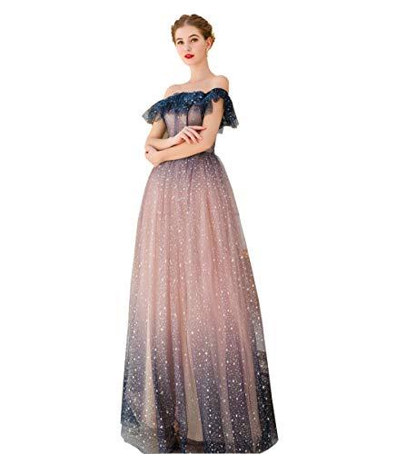 TITANIYA-dress Sera Canonico Abito da Sposa Rosa Blu Organza Parola Colletto Stella Principessa Sposa Lungo Elegante Nobile Sexy,Pink,36