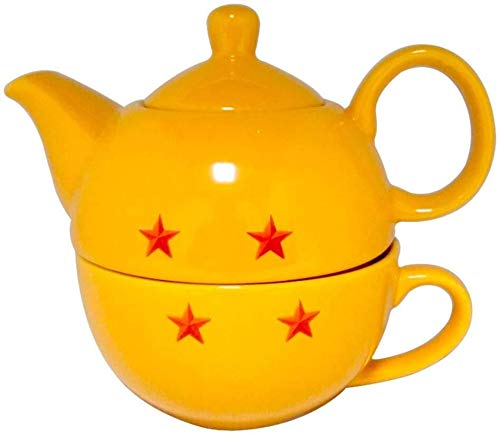 Dragon Ball Super Stackable Tea Pot and Cup, Yellow with Red Stars, By JustFunky