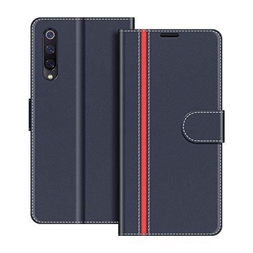 COODIO Handyhülle für Xiaomi Mi 9 SE Handy Hülle, Xiaomi Mi 9 SE Hülle Leder Handytasche für Xiaomi Mi 9 SE Klapphülle Tasche, Dunkel Blau/Rot