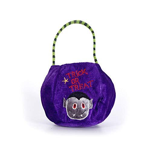 Xqi wangpu Accesorios de Halloween,Halloween Tote Bag_Halloween Tote Bag Amazon Pumpkin Bag Candy Bag Child Portable Kindergarten Decoration Gift Bag MallVampiro púrpura_15 * 20 cm