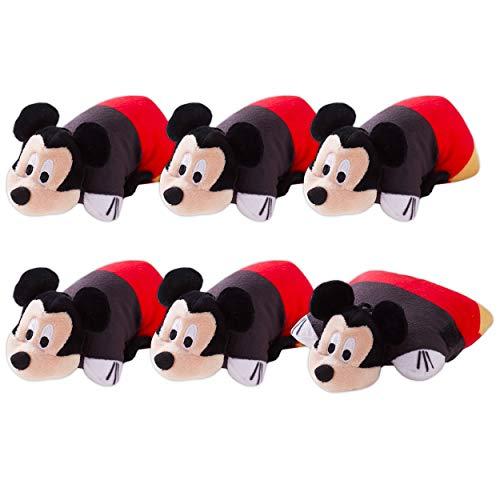 Disney Shop Mickey Mouse Plush Party Favors Pack -- Set of 6 Mini Mickey Mouse Pillow Pet Stuffed Animal Toys, 5