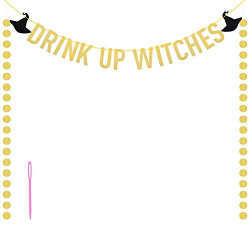 RtottiM Hexen Halloween Deko Banner Halloween Papier Ziehen Flagge Drink Up Witches Gold Glitzer Girlande 2 Schwarz Hexenhut Grusel Deko für Halloween Party