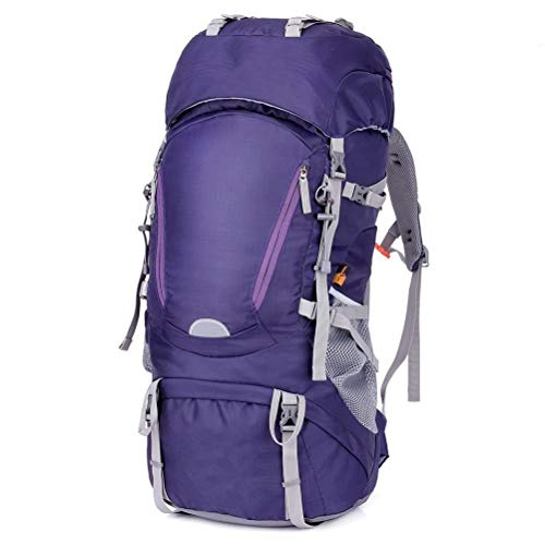 WUHUAROU 60L Waterproof Hiking Backpack Woman Outdoor Trekking Camping Bag Army Man Hunting Mountain Backpacks Rain Cover Rucksack (Color : Purple)