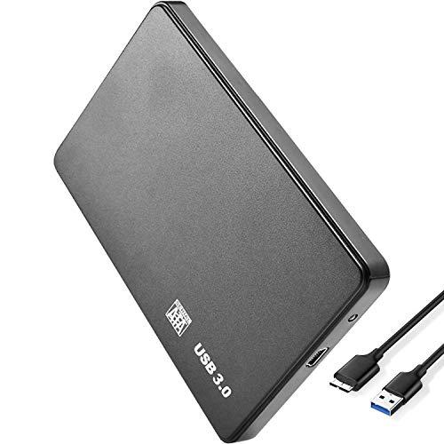 LonEasy Carcasa de Disco Duro móvil USB 3.0, Compatible con HDD SSD de 2.5 Pulgadas SATA I/II/III 7 mm 9.5 mm, 6TB MAX con 50CM Cable...