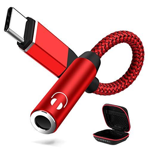 ACOCOBUY Adaptador USB C a Jack 3.5mm OnePlus Nord Nylon Trenzado Adaptador Tipo C a Jack 3.5 Compatible con OnePlus 7T/7T Pro/7 Pro/8 Pro, Samsung S20/S20+/S20 Ultra/Note 10+, Huawei P30 Pro/P40