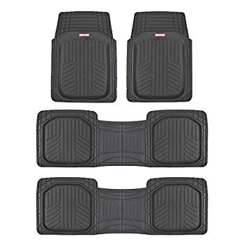 Motor Trend 3 Row Odorless Black Deep Dish Rubber Floor Mats All-Climate All Weather Performance Plus Heavy Duty Liners