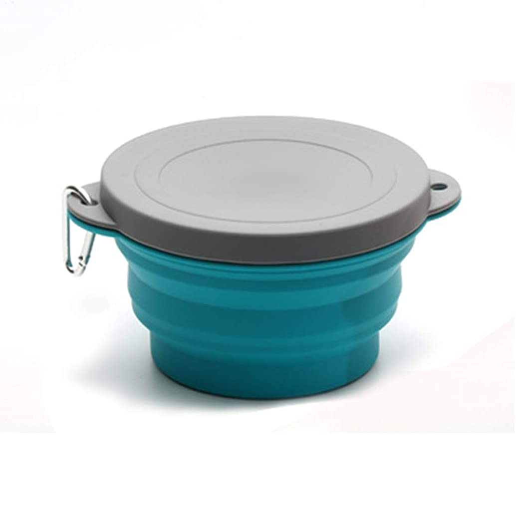 Folding Bowl, Folding Save Space Silicone Bowl Bowl Lid Design for Indoor Home Kitchen Office School Student - Blue