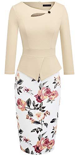 HOMEYEE Women's Elegant Chic Bodycon Formal Dress B288 (4, Apricot + Floral)