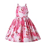 Ju petitpop Moda Verano para Niñas Ropa Flamenco Rosa Dulce Vestido Fiesta Graduación Cumpleaños para Adolescentes