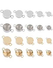 UNICRAFTALE 5 Size About 40pcs Stainless Steel Connector Pendant Fit for 3/4/5/6/7mm Rhinestone Golden and Stainless Steel Color Linking Charm Connectors for Jewelry Making