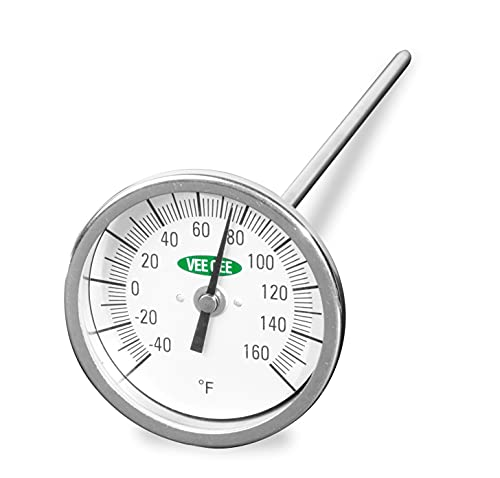 Vee Gee Scientific 82160-6 Dial Soil Thermometer, 6' Stainless Steel Stem, 3' Dial Display, -40 to 160-Degree F,Silver