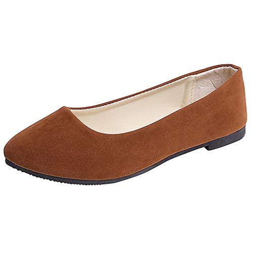 URIBAKY - Zapatillas de senderismo para mujer, color liso, talla grande, sin cordones, planos y poco profundos, transpirables, suaves y cómodas, para exteriores, fitness, fitness, etc, marrón, 35 EU
