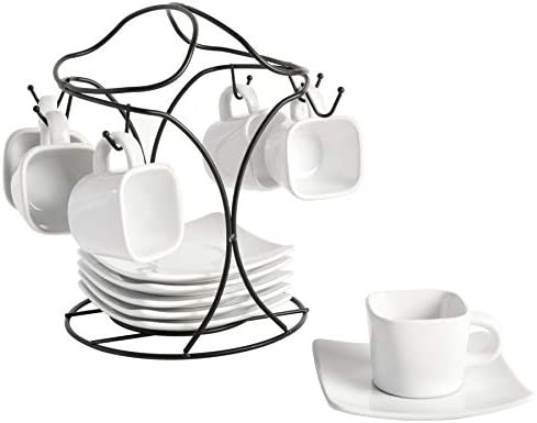 Gibson Home Gracious Dining Dinnerware, 3-Tier Rectangle Plate Set with Metal Stand, White