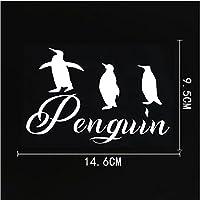 3枚の車のステッカー-14.6CM×9.5CMおかしい動物のペンギンビニール車の窓のステッカーデカール
