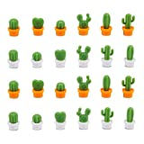 Cactus Refrigerator Magnets, BENBO Cute Mini Creative Notice Message Magnetic Stickers Whiteboard Magnet Decorative Locker Fridge Stickers for House Office Use (24PCS)