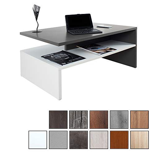 RICOO WM080 W-A, Mesa Centro salon, 90x41,5x59,5cm, Mueble Auxiliar para Salon, Rectangular, Diseno Moderno, Decorativo, Madera Color Gris Antracita