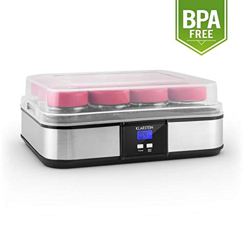 Klarstein Gaia macchina per yogurt (in acciaio inox, 12 vasetti in vetro da 210ml, produzione di 2,5litri, tempo di preparazione regolabile, display LCD) - nero