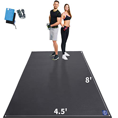 Extra Large Exercise Mat 96x54 inch, Non-Slip Workout Mats for Home Gym Flooring, Ultra Durable, 7mm Thick Cardio Mat for Plyo, MMA, Jump, Weightlifting - Shoe Friendly, Eco Friendly (Black)