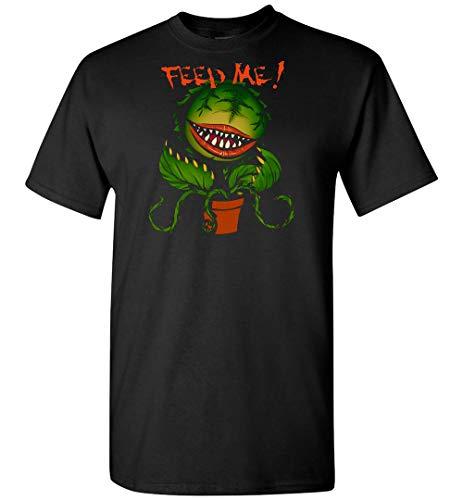 Maglietta con scritta 'Little Shop of Horrors Feed Me 1', colore: Rosa Maglietta nera. M