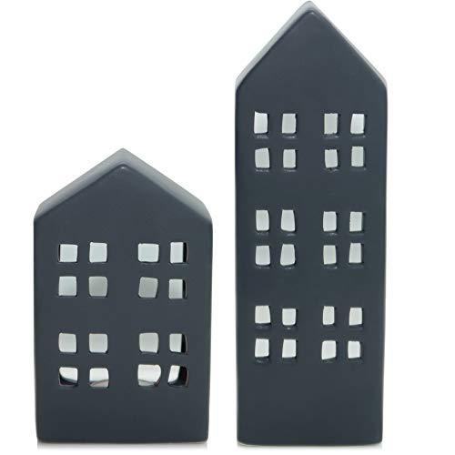Exner Haus Kerzenhalter 'XOXO' Lichthaus Keramik grau anthrazit matt Teelichthalter Windlicht Deko Herbst Winter modern skandinavisch (24)