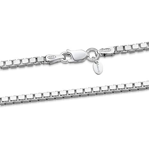 925 Sterling Silver 2 mm Venice Box Chain Necklace Size: 18 22 26 inch / 45 55 65 cm (18inch/45cm)
