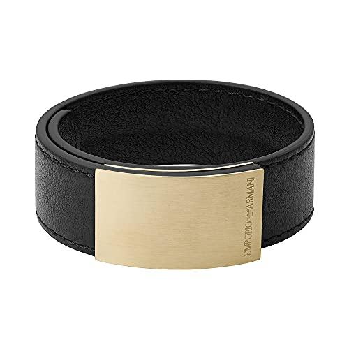 Emporio Armani EGS2752710 - Pulsera de piel para hombre, color negro
