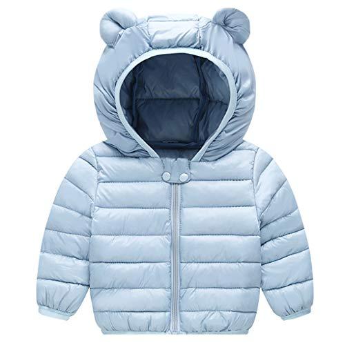 JiAmy Bambino Inverno Giacche Cappotto con Cappuccio Ragazzi Ragazze Leggero Giubbotti Blu 6-12 Mesi