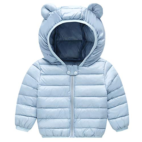 Bebé Chaqueta Invierno Abrigo con Capucha Ligero Trajes Ropa de Calle Acolchado Azul 6-12 Meses