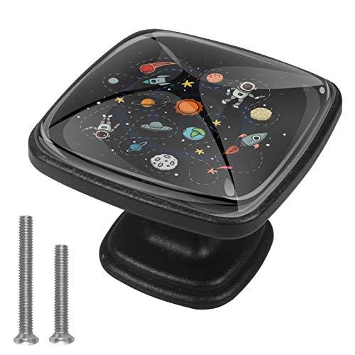 Confezione da 4 pomelli quadrati per armadi e cassetti, spazio esterno Solay Rocket Earth Astronauta