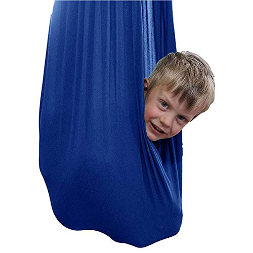ZHL Nylon Elastic Cuddle Hammock Therapy Swing Indoor Hanging Seat For Kids Autism ADHD ADD With Sensory Needs Children Outdoor (Color : Blue, Size : 100 x 280 cm)