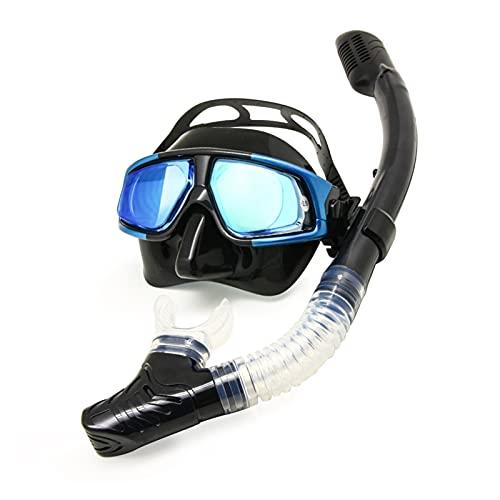 JINGGEGE Kit de Engranajes de Buceo Hyperopía Myopia Snorkel Set Dry Top Scuba Mask Water Vision Anti-Niebla (Color : Myopia 150, Size : Black Silver No Tube)