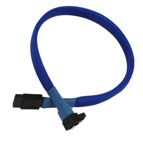 Nanoxia 900200032 SATA 3.0 Anschlusskabel, Abgewinkelter Stecker, Sicherheitslasche, 60 cm, Blauer Sleeve